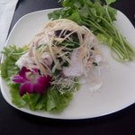 fresh sliced fish salad with wasabe