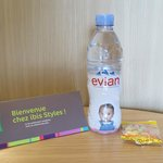 Welcome candy and bottle of Evian