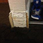 Missing floor boards in room...