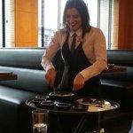 The waitress preparing guacamole, hummm!