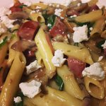 Chorizo & goats cheese pasta of the day! Yum