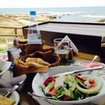 Mixed dips & village salad