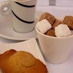 Le café accompagné d'une délicieuse et  moelleuse madeleine
