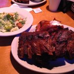 Full rack of ribs with sweet potato and salad