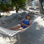 Lazy shady hammocks on the beach by the pool