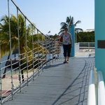 Walk the wobbly rope bridge to the delightful Restaurant