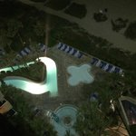 Late night photo of one of the pool areas from our balcony