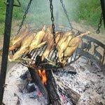 cooking dinner on bon fire