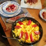 delicious breakfast from farm eggs and mushrooms