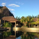 Pool and hotel with Le Morne Mountain in the background