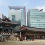 Temple buildings nestled in Modern Highrises
