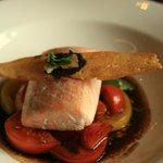 Loch Duart salmon with an heirloom tomato salad and basil