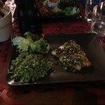 filetto di salmone panato al pistacchio + risottino al pesto di basilico