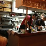 View of the kitchen from our table.