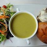 Cream of Aspargus soup, salad and roast beef on a bun
