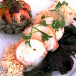 Starter: Smoked Lobster & Quinoa with sea vegetables & crayfish dressing.