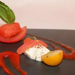Starter: Peppered Welsh Goats Cheese (V) with assiette of tomato & Bloody Mary.