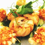 Starter: Seared Anglesey Scallops with confit pork belly, Bramley apple & hazelnut oil.