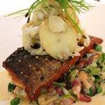 Main course: Pan-Fried Wild Sea Bass with petit pois a la Francais, mussels, potato