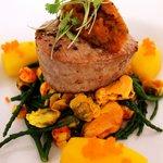 Main course: Seared Tuna Loin with saffron shellfish broth & harissa rouille.
