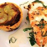 Main course: Roast Corn-Fed Chicken Breast with miniature chicken hot-pot pie & lovage cream.