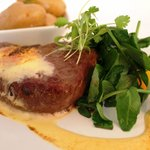 Main course: Poached Fillet Of Welsh Beef with orange salad, orange sabayon, new potatoes