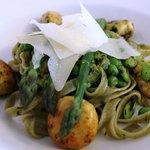 Main course: Fresh Spinach Tagliatelle with asparagus, broad beans, peas & ricotta dumplings.
