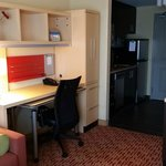 desk and kitchenette area (with dishwasher!)