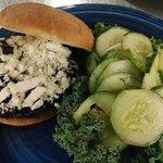 Portabello mushroom sandwich with a cucumber salad