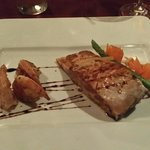 Delicious salmon filet and shrimp crowns Bordeaux French cuisine.