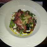 Very good starter, Parma Ham and Black Olives
