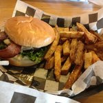 Applewood Bacon 1/3 lb burger with fries