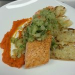 Salmon with cucumber salsa