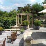 spacious multi-layered patio areas