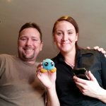 Fantastic waitress with our vacation mascot,  jubby!
