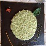 risotto al basilico e crescenza