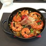 wok with shrimps