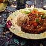 Crispy Kahlua Duck with coconut rice and veggies