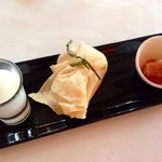 """Mise- en- bouche, consisting of a melon soup, a gorgeous prawn and cream cheese """"basket"""" and a c"""