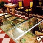 Restaurant glass floor entrance. It gives a nice first impression when you enter.