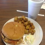 Pork Sandwich, Fried Okra, and a Sweet Tea