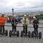 Joe, Helen, MaryJude and Madge on Segways in Prague