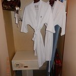 Cushy robes, lots of hangers, safe.