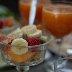 Fresh fruit and orange juice