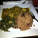 Curry Goat, Collard Greens, Rice & Peas