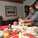David enjoying Mrs. Judy's breakfast!