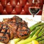 Our Porterhouse with one of our favorite bottles of wine