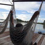 Relaxing in the hammock chair
