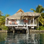 From the water, a view of the #623 over water bungalow