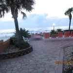 View of Patio & Beach from our Balcony